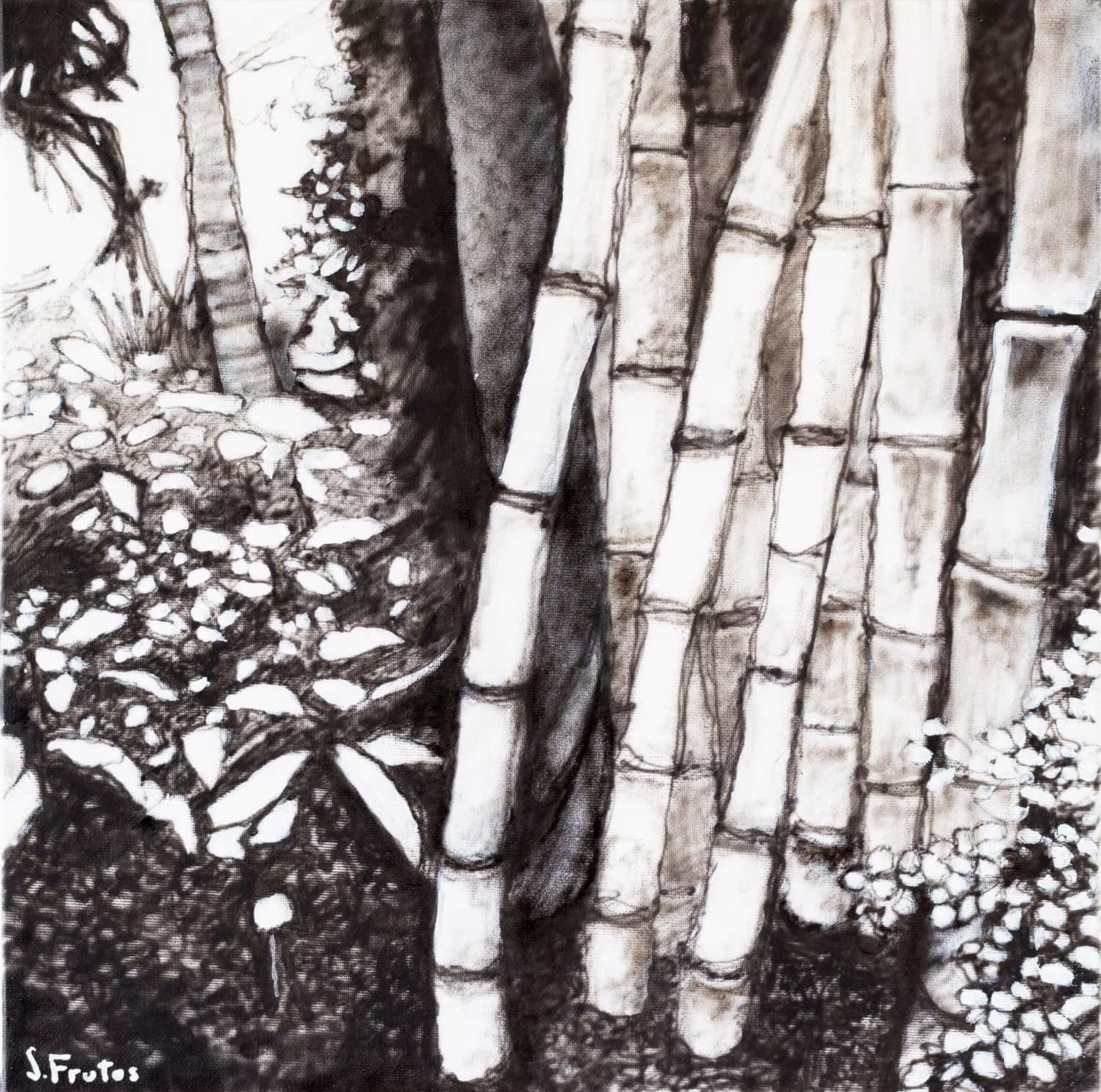 Bamboos II. Ink on canvas, 30 x 30 cm, 2021