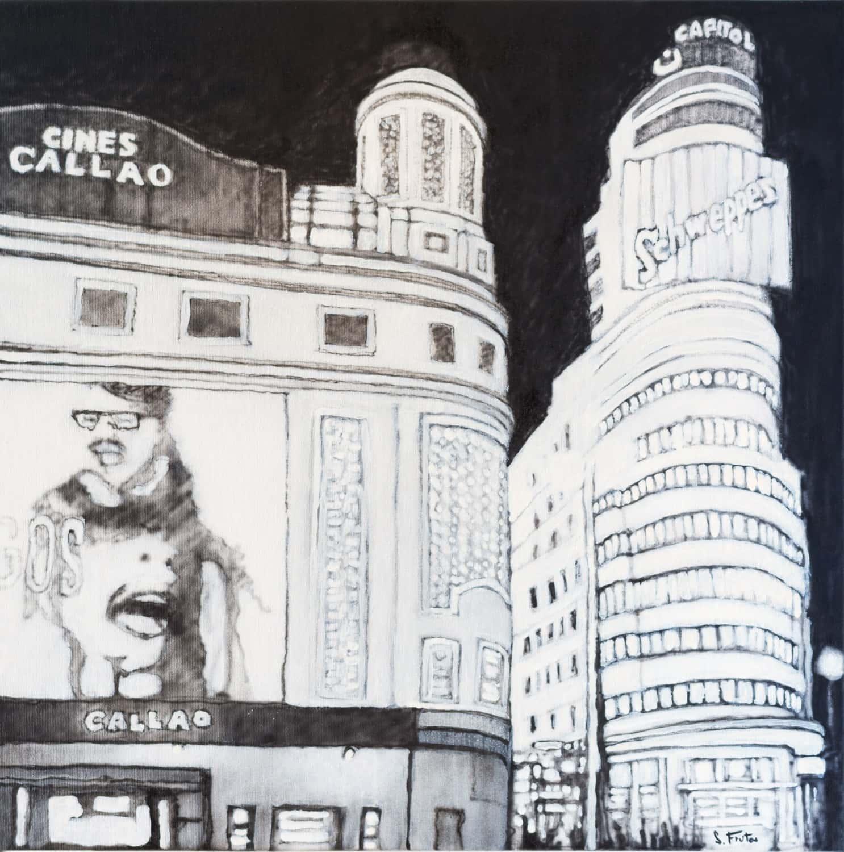 Callao. Ink on canvas, 40 x 40 cm, 2021