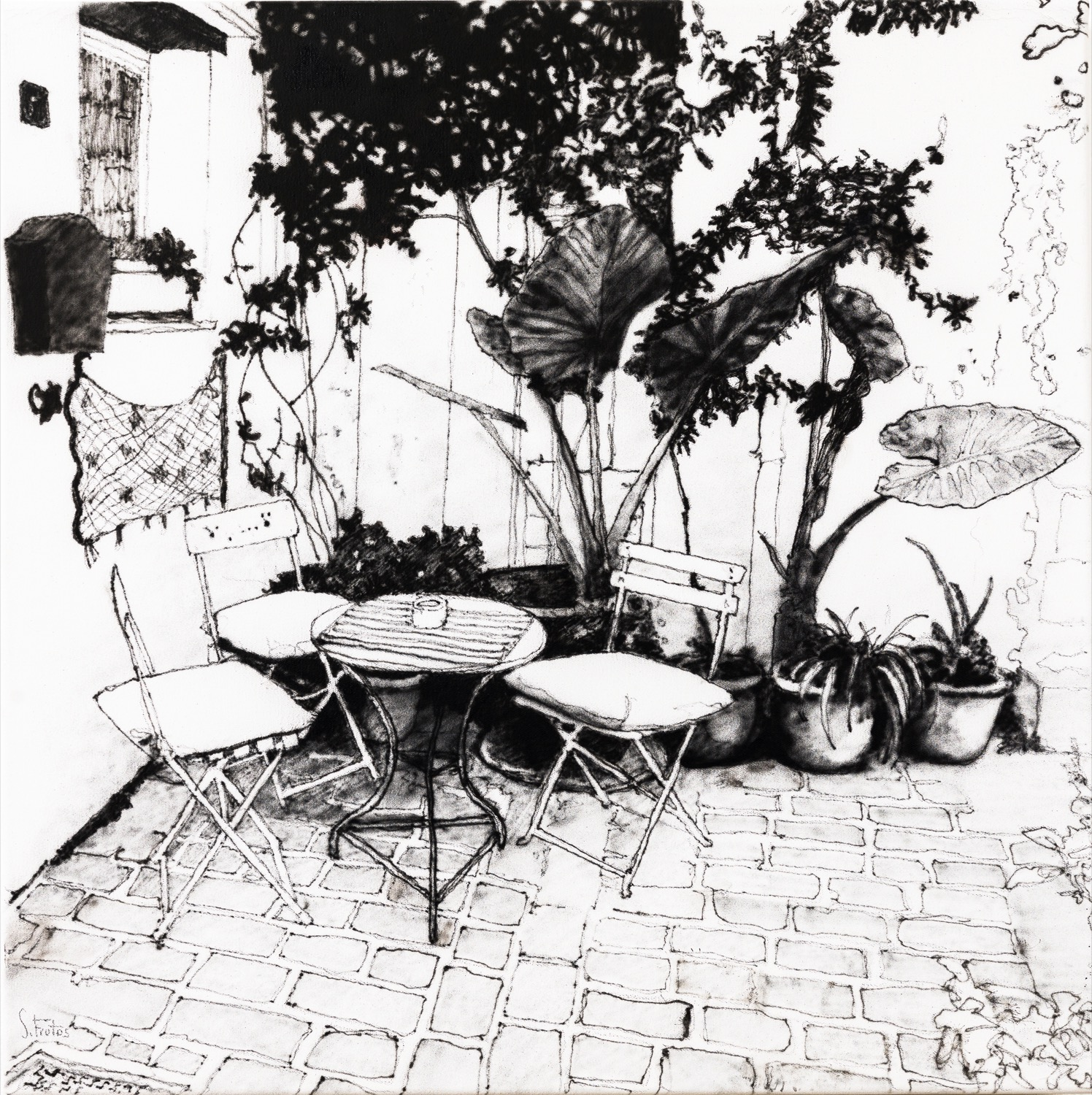 Chania, Crete. Ink on canvas, 50 x 50 cm, 2020