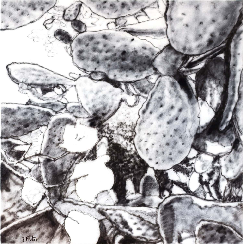 Chumberas. Ink on canvas, 40 x 40 cm, 2021