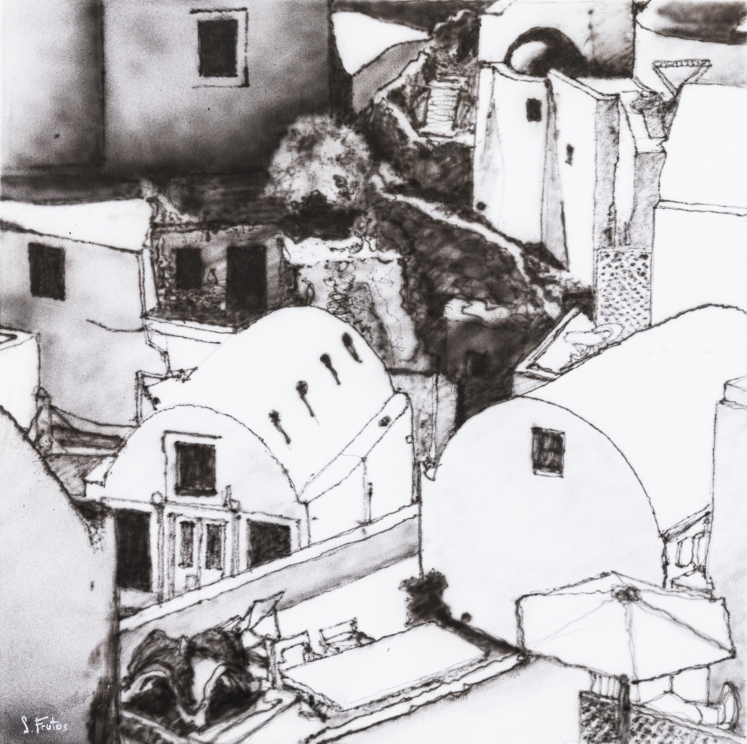 Oia, Santorini.  Ink on paper on wood, 30 x 30 cm,  2020