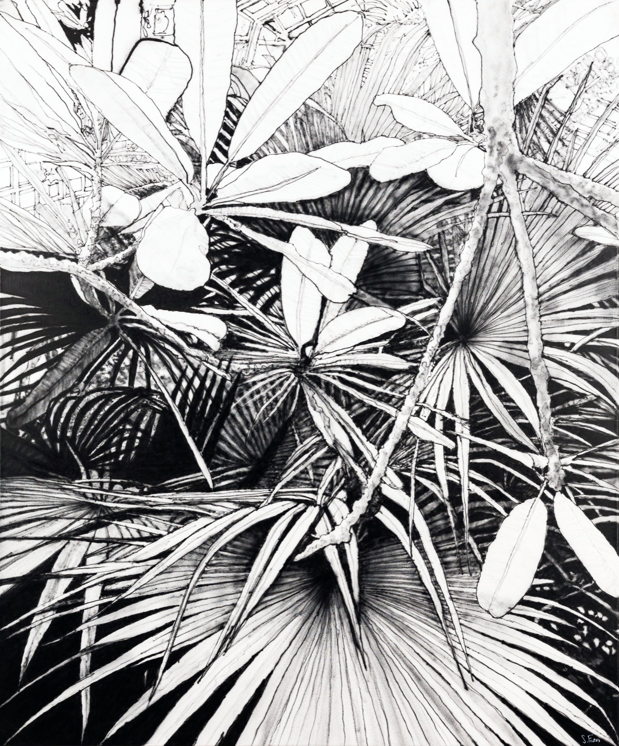 Palme II. Ink on canvas, 100 x 120 cm, 2020